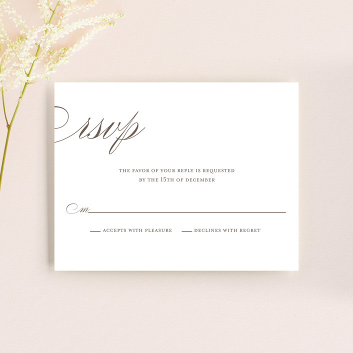 """""""Sweet Scallop"""" - Modern Rsvp Cards in Taupe by annie clark."""