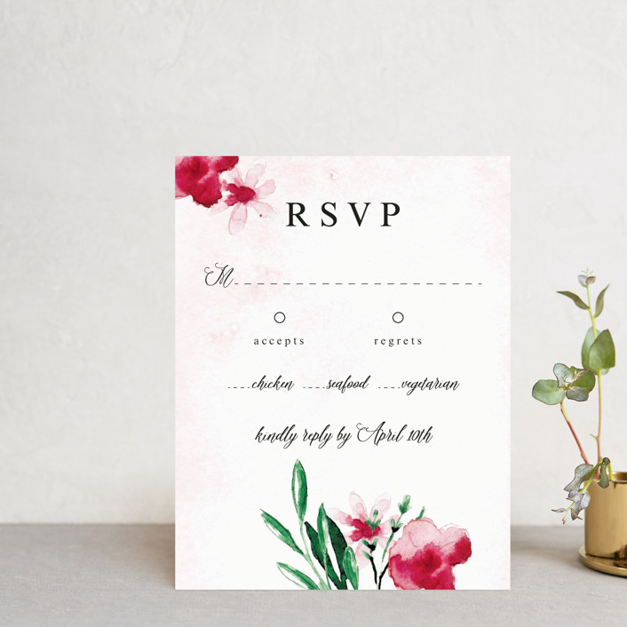 """""""Garden Party Joy"""" - Rsvp Cards in Blush by frances."""