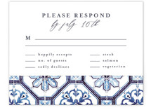 This is a blue rsvp card by Anastasia Makarova called watercolor azulejo with standard printing on signature in standard.
