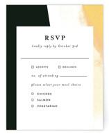 This is a black rsvp card by Lea Velasquez called Upper Block with standard printing on signature in standard.