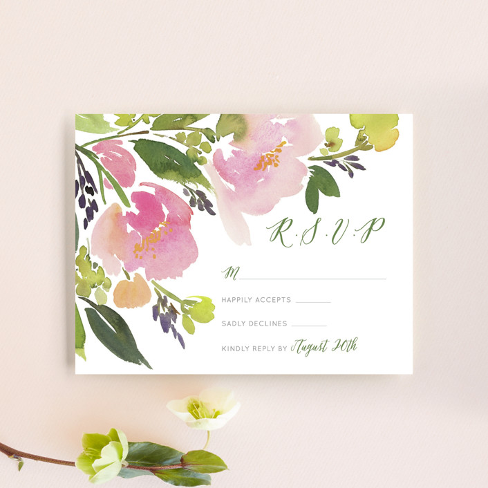"""""""Watercolor Floral"""" - Rsvp Cards in Olive by Yao Cheng Design."""