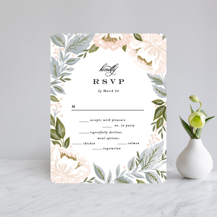 """Peony Floral Frame"" - Rsvp Cards in Cornflower by Alethea and Ruth."