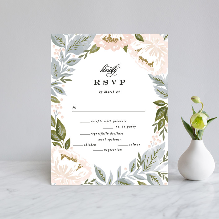 """""""Peony Floral Frame"""" - Rsvp Cards in Cornflower by Alethea and Ruth."""