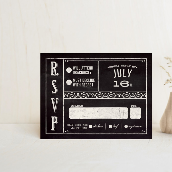 """Slated Forever"" - Bold typographic, Vintage Rsvp Cards in Chalkboard by GeekInk Design."
