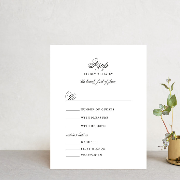 """One and Only"" - Rsvp Cards in Classic Bride by Design Lotus."