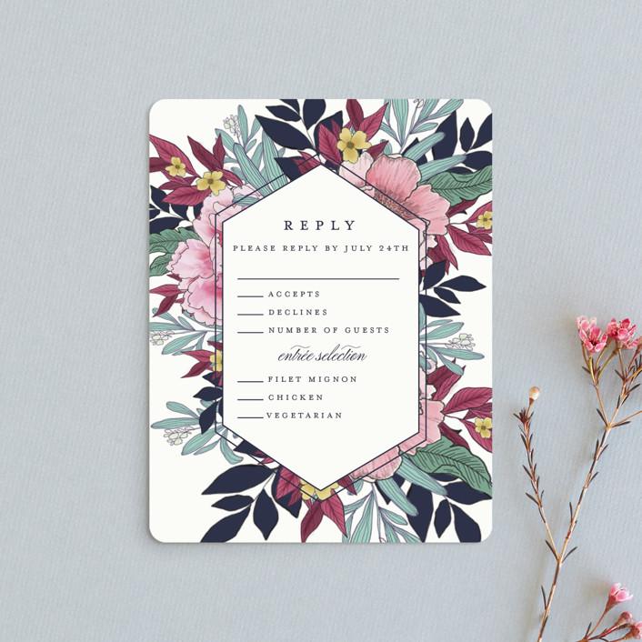 """""""Vintage Boughs"""" - Rsvp Cards in Merlot by Grace Kreinbrink."""
