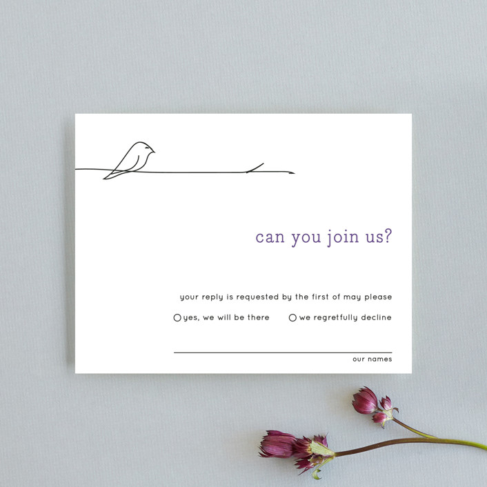 """Birds of a Feather"" - Whimsical & Funny Rsvp Cards in Plum by R studio."