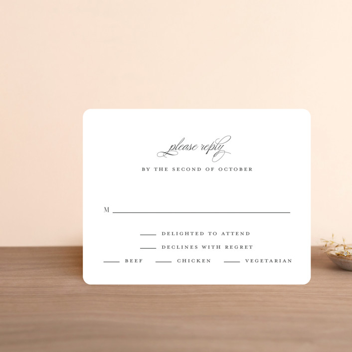 """""""Classical"""" - Rsvp Cards in Taupe by Jessica Williams."""