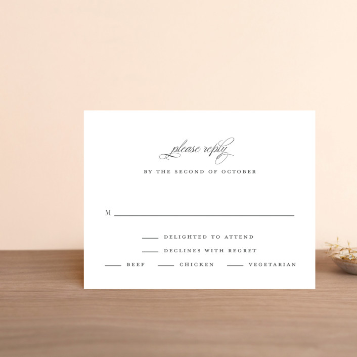 """Classical"" - Rsvp Cards in Taupe by Jessica Williams."