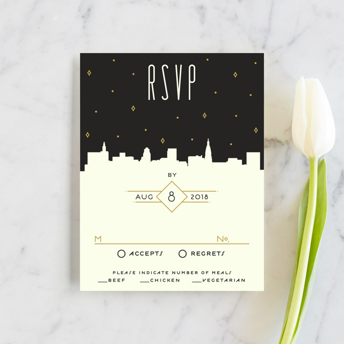 """Empire"" - Destination, Modern Rsvp Cards in Midnight by GeekInk Design."