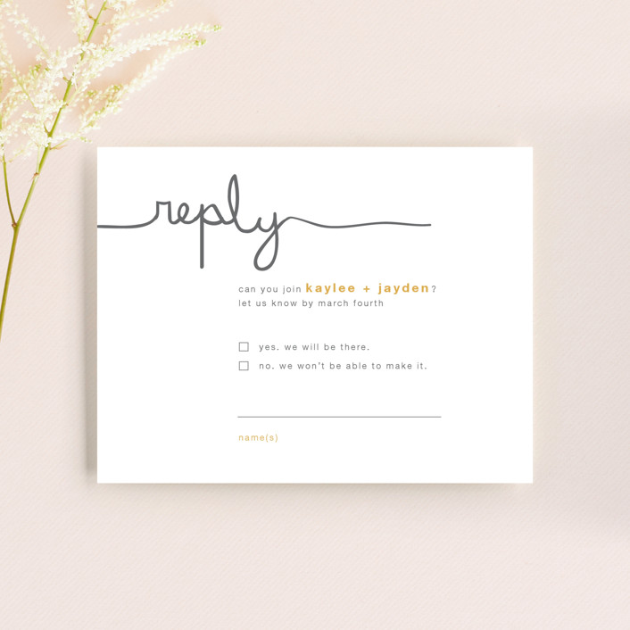 """""""The Happy Couple"""" - Whimsical & Funny Rsvp Cards in Tangerine by R studio."""