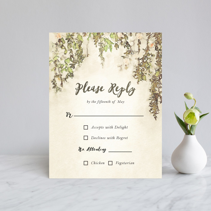 """""""English Countryside"""" - Simple, Rustic Rsvp Cards in Moss by Design Lotus."""