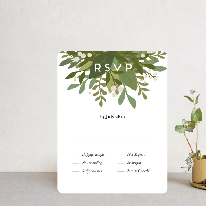 """""""Laurel of Greens"""" - Rsvp Cards in Midnight by Jennifer Wick."""