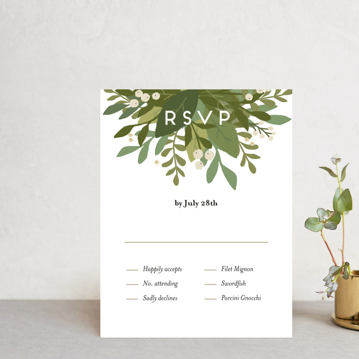 """Laurel of Greens"" - Rsvp Cards in Midnight by Jennifer Wick."
