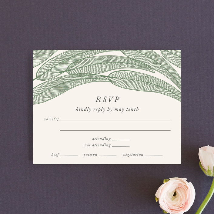 """""""Sketched Leaves"""" - Rsvp Cards in Pine by Katharine Watson."""