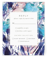 This is a blue rsvp card by Grace Kreinbrink called Blissful Blooms with standard printing on signature in standard.