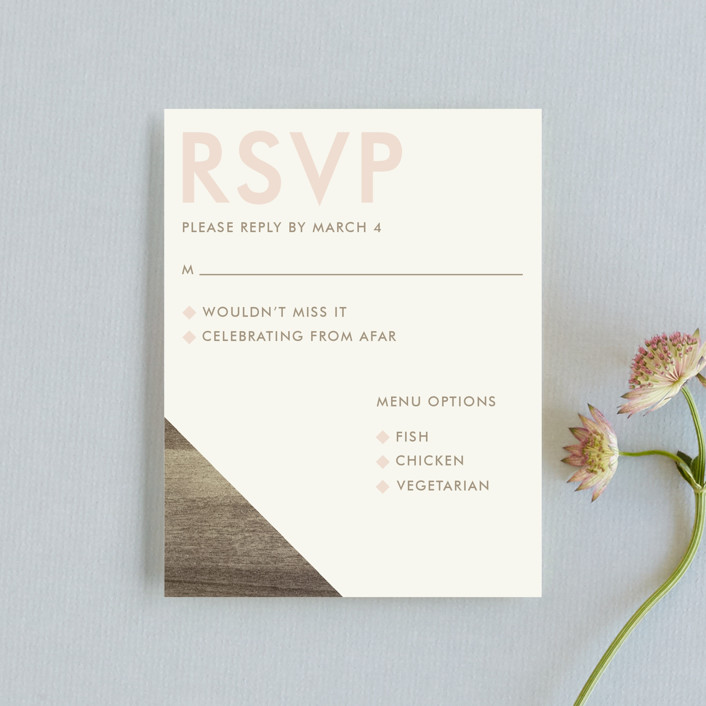 """Modern Barn Wood"" - Rustic Rsvp Cards in Rose by Johanna McShan."