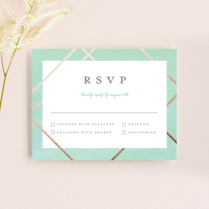 """Watercolor Union"" - Modern Rsvp Cards in Aqua by Genna Cowsert."