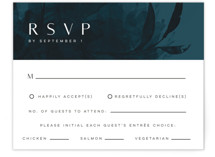 This is a blue rsvp card by Melanie Kosuge called AMAYA with standard printing on signature in standard.