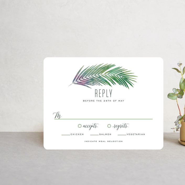 """""""Tropical Foliage"""" - Rsvp Cards in Fern by Hooray Creative."""