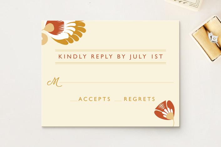 """Papercut"" - Rustic, Floral & Botanical Rsvp Cards in Goldenrod by Yolanda Mariak Chendak."