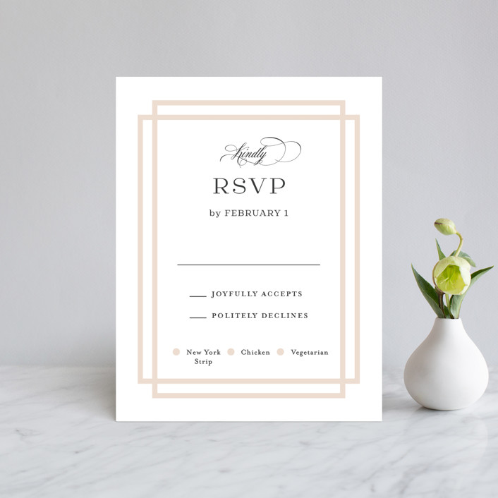 """""""Timeless Love"""" - Rsvp Cards in Blush by Carolyn MacLaren."""