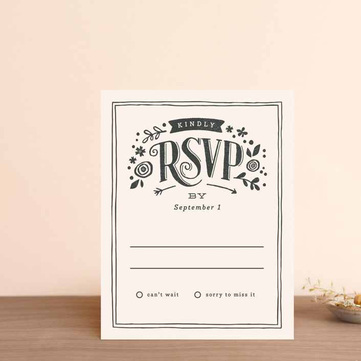 """Alabaster Florals"" - Floral & Botanical, Vintage Rsvp Cards in Slate by Jennifer Wick."