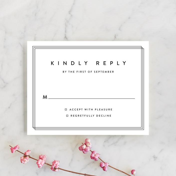"""Elegantly Framed"" - Rsvp Cards in Blanc by Stacey Meacham."