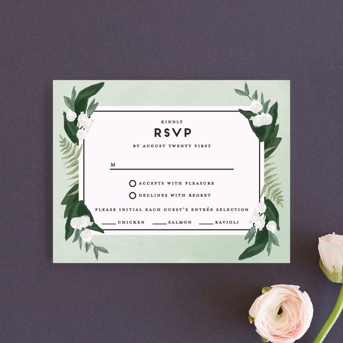 """Botanical Name Plate"" - Rsvp Cards in Sage by Shiny Penny Studio."