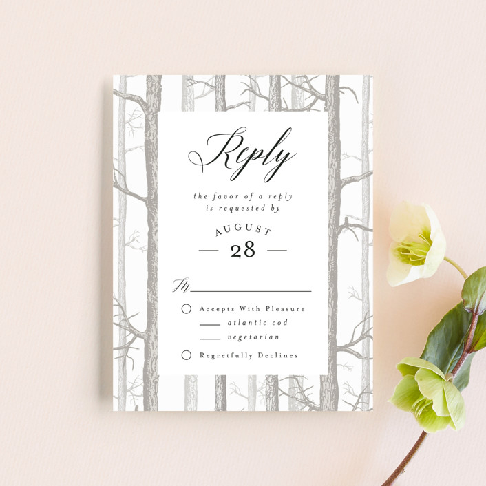 """""""Winter Birch"""" - Rustic Rsvp Cards in Taupe by Kelly Schmidt."""