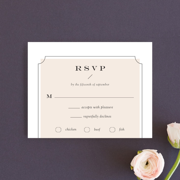 """Nobility"" - Modern, Preppy Rsvp Cards in Blush by Alston Wise."