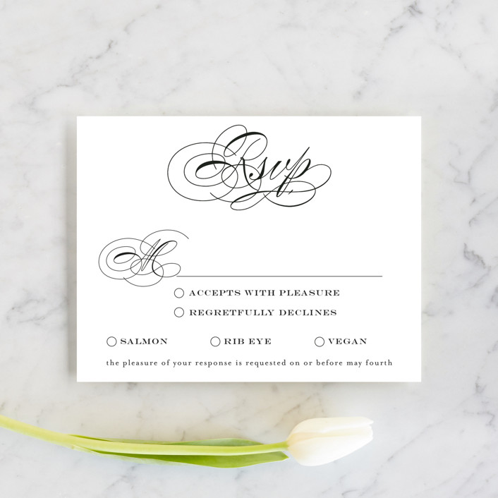 """Timeless Elegance"" - Rsvp Cards in Black Night by AK Graphics."