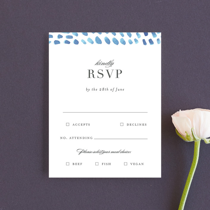 """watercolor dashes"" - Rsvp Cards in Ocean Blue by Jennifer Wick."