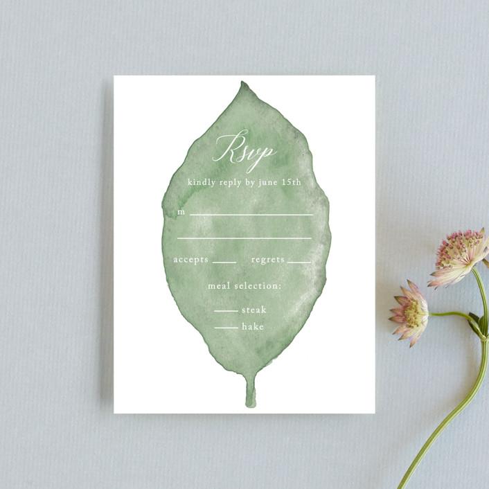 """Painted Leaf"" - Rsvp Cards in Leaf by Katharine Watson."
