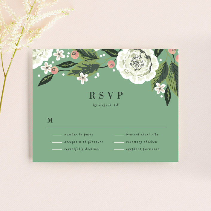 """Climbing Rose"" - Rsvp Cards in Leaf by Alethea and Ruth."