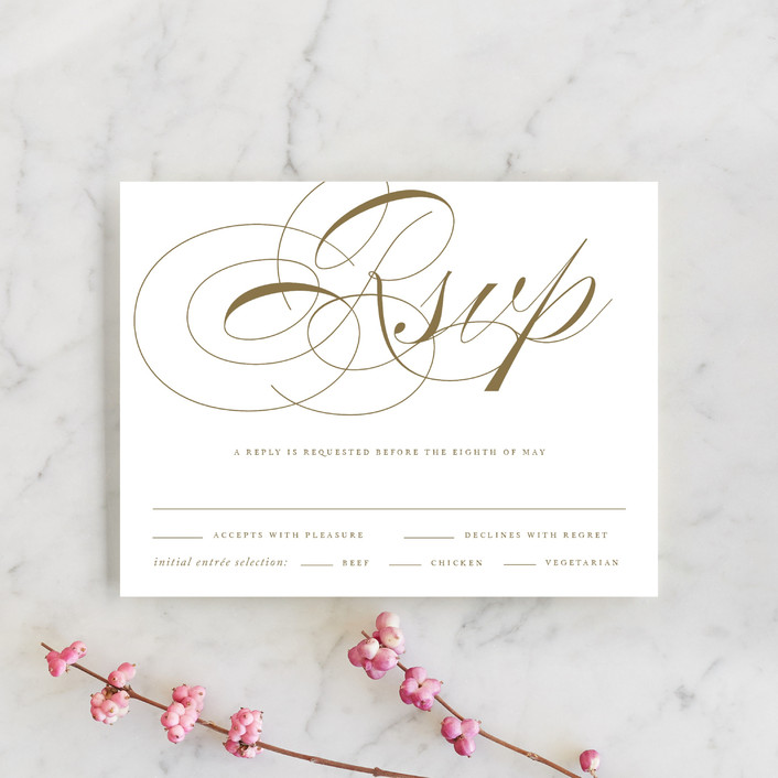 """Aqueous"" - Rsvp Cards in Antique Gold by Jennifer Postorino."
