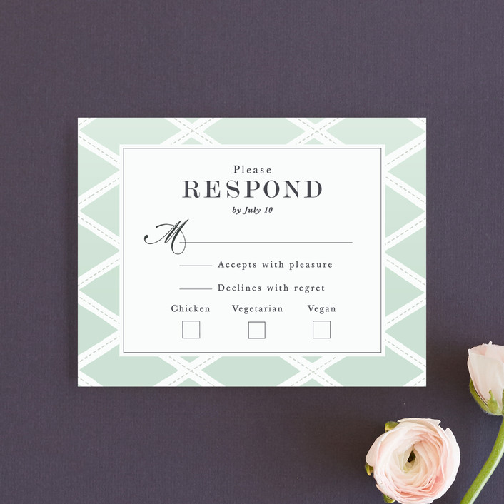 """Bold Lattice"" - Rsvp Cards in Mint by Griffinbell Paper Co.."