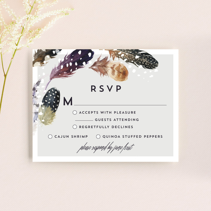 """Feather Flurry"" - Rsvp Cards in Slate by AK Graphics."