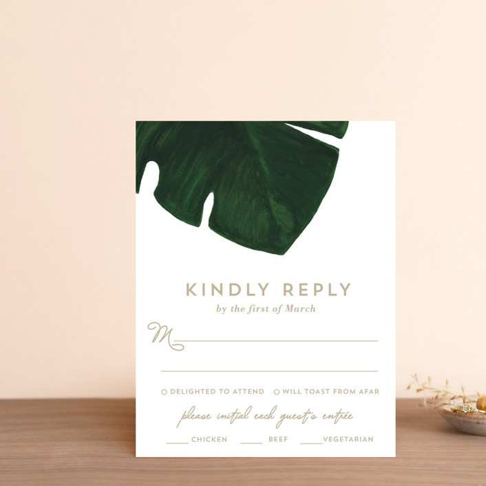 """""""Palm"""" - Rsvp Cards in Classic Palm by Kaydi Bishop."""