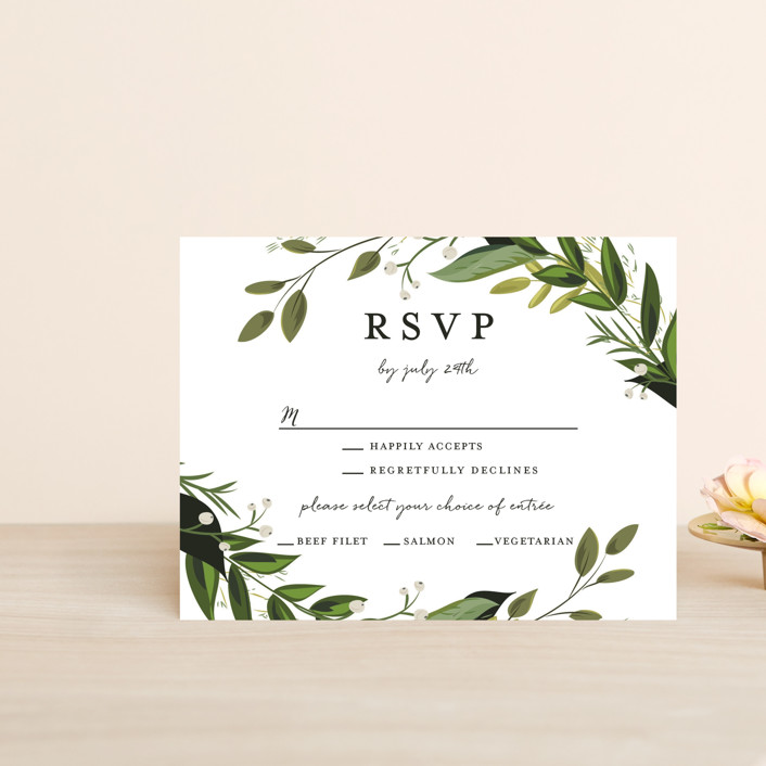 """Vines of Green"" - Rsvp Cards in Fern by Susan Moyal."