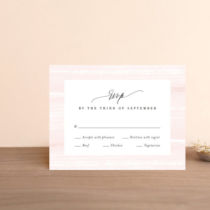"""Effervescent"" - Rsvp Cards in Blush by Kristie Kern."