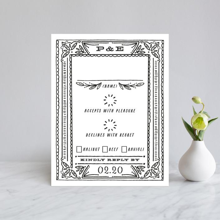 """Ink Detailing Frame"" - Rsvp Cards in Ink by Shiny Penny Studio."