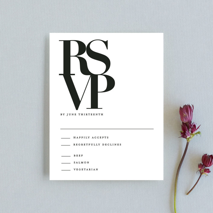 """The Minimalist"" - Rsvp Cards in Pearl by Kelly Schmidt."