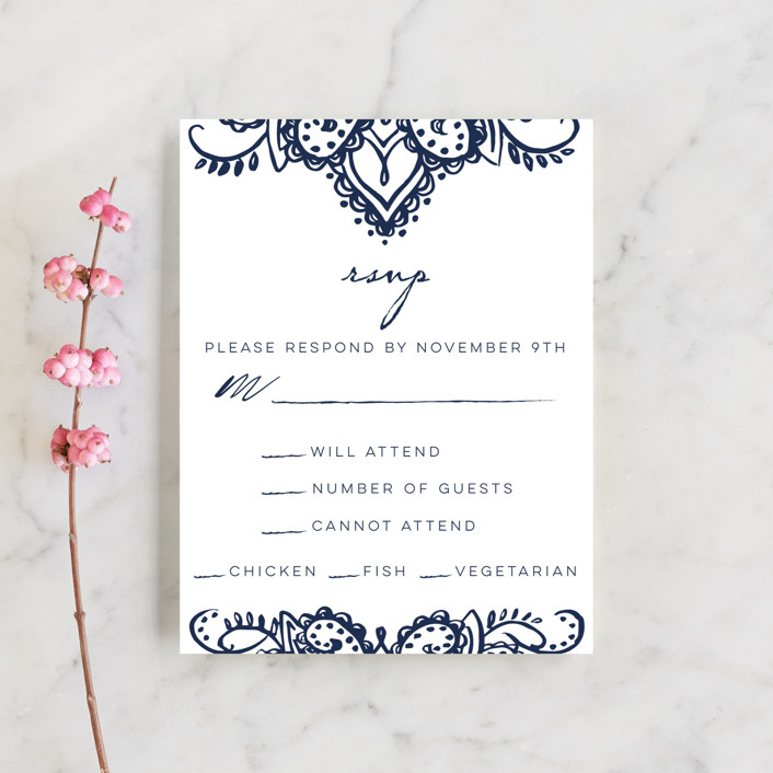 """Indigo Lace"" - Rsvp Cards in Cobalt by Krista Messer."
