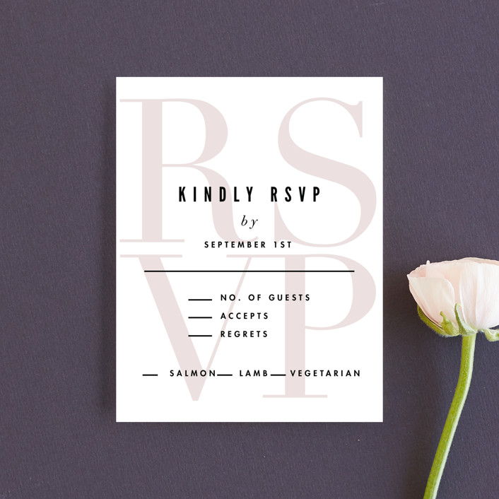 """""""Initialed"""" - Rsvp Cards in Blush by Pistols."""