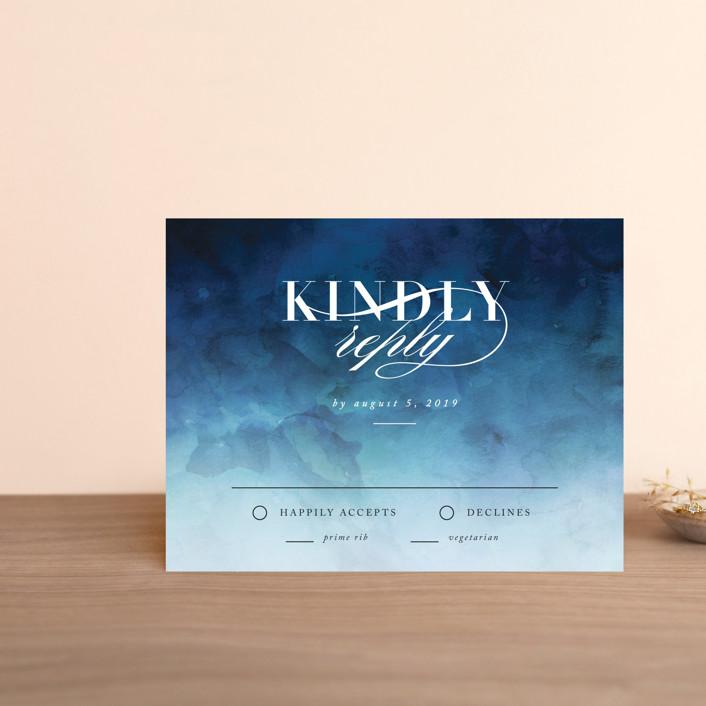 """""""Indigo Sea"""" - Rsvp Cards in Ocean by Kelly Schmidt."""
