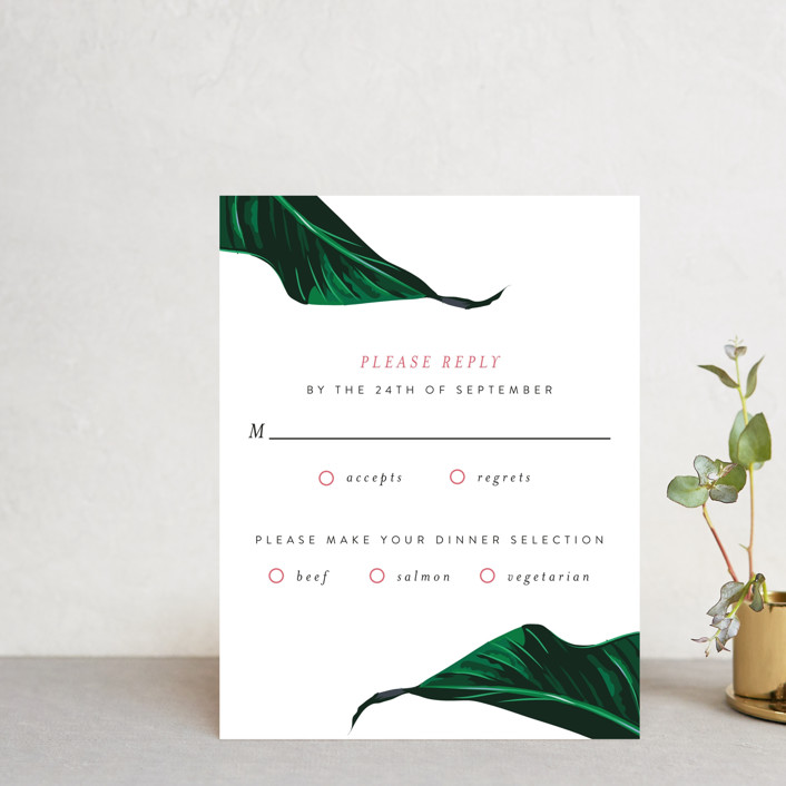 """Mod Palm"" - Rsvp Cards in Pearl by Fig and Cotton."