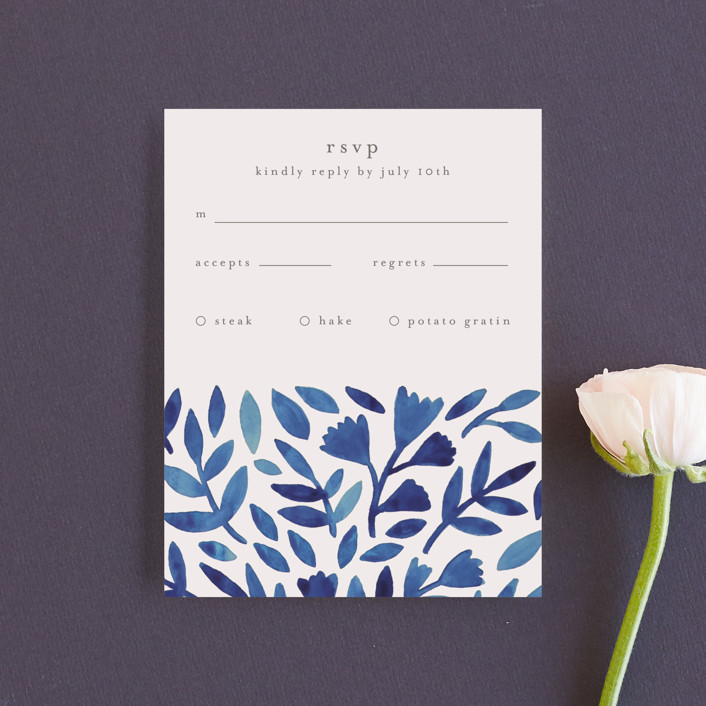 """Wildflower Floral"" - Rsvp Cards in Navy by Katharine Watson."