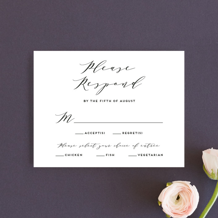 """Elegant Monogram"" - Rsvp Cards in Tuxedo by Simona Camp."