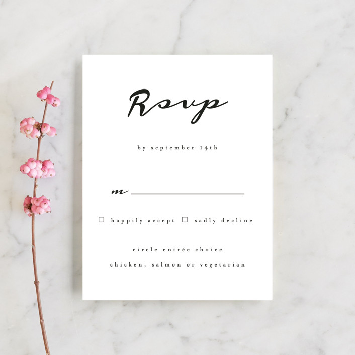 """Dressed in White"" - Rsvp Cards in Cloud by Angela Garrick."